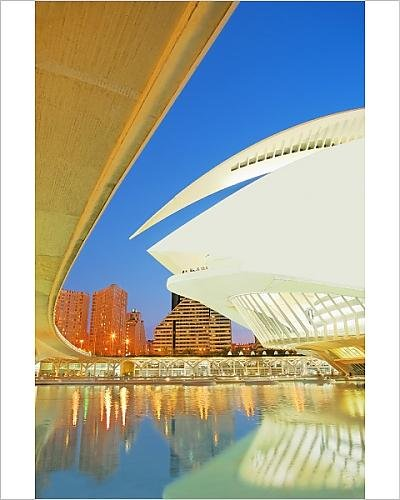 Photographic Print Of Palau De Les Arts And Bridge, City Of Arts And Sciences, Valencia, Comunidad