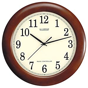 La Crosse Technology WT-3122A 12 1/2-Inch Wood Atomic Analog Clock