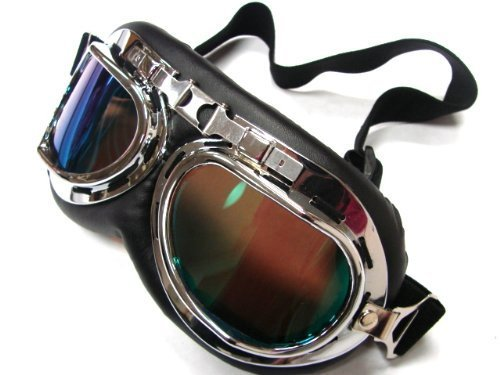 Oumers TMS WWII Raf Vintage Goggles, Aviator Pilot Style Motorcycle Cruiser Scooter Goggle, Bike Caf¨¦ Racer Cruiser Touring Half Helmet Goggles, Cool MTB Bicycle Summer Winter Snowboard Windproof glasses 1