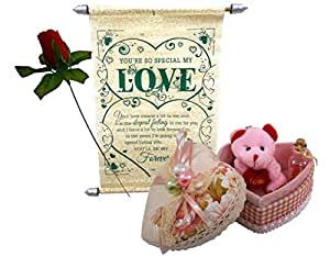 Natali Love Gift Love Scroll Card With Teddy Key Chain, Artificial Red Rose & Message Bottle In Jewelry Box
