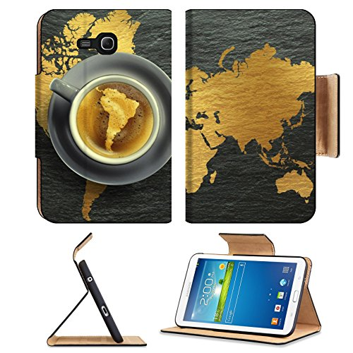 Coffee Cup Golden Color Map Samsung Galaxy Tab 3 7.0 Lite Flip Case Stand Magnetic Cover Open Ports Customized Made To Order Support Ready Premium Deluxe Pu Leather 7 12/16 Inch (190Mm) X 5 5/8 Inch (117Mm) X 11/16 Inch (17Mm) Msd Galaxy Tab3 Cases Tab_7.