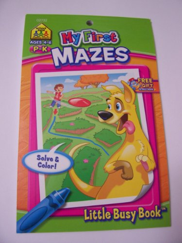 School Zone My First Mazes Coloring and Activity Pad ~ A P-K School Little Busy Book (5.4