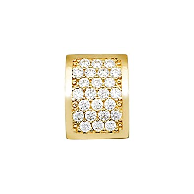 18k gold pendant rectangle zircons [AA4590]