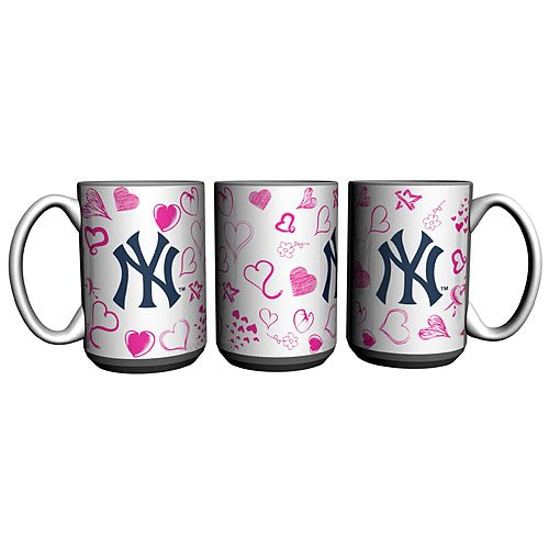 Mlb New York Yankees 15-Ounce Ceramic Hearts Mug