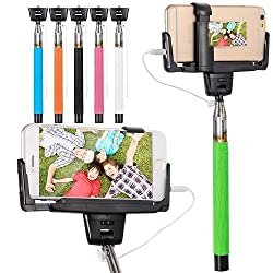 Casotec Selfie Stick with Mirror for Rear Camera Shoot, wired Remote Shutter Button Extendable Handheld Monopod for IOS Android - Green