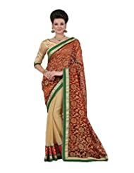 Indian Women Chiffon And Net Resham And Patch Work Saree With Unstitched Blouse Piece (Red And Chickoo)