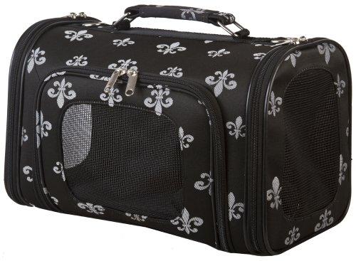 Black Silver Fleur De Lis Pet Dog Cat Carrier Medium, 16-inch