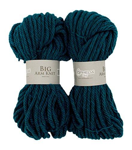 Ophelia Italy BigArmKnit018Filo in lana spesso, 70% acrilico 30% lana vergine, pacchetto 2x 100G, colore: blu petrolio