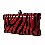 Luxury Divas Red Black Zebra Print Faux Patent Leather Suede Clutch Evening Bag