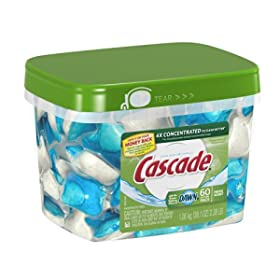 Cascade ActionPacs, Dishwasher Detergent, 60-count Container