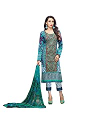 Blue And Green Digital Print Work Party Wear Pakistani Salwar Suit Semi Stitched Dress Material