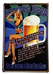 Yours Dec Metal Tin Sign Iceberg Beer Tin Sign Wall Decor Retro Metal Art Bar Pub Poster 8inch