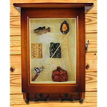 Heartful Home Key Wall Holder Cabinet - Save Time & Hassle - Top Quality Decorative Wood Keychain Storage Rack w/ Hooks - Great Housewarming, Wedding, Anniversary Gifts (Fishing)