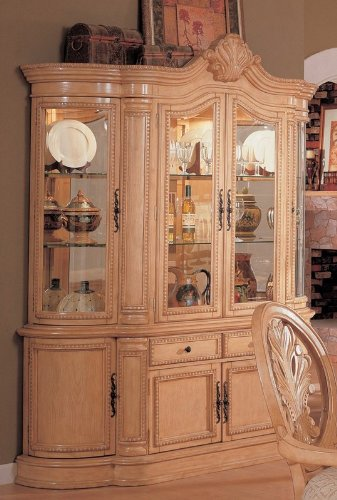 Cheap China Cabinet Buffet Hutch Traditional English Style Antique White Finish (VF_101054)