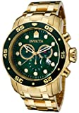 Invicta Pro Diver Men's Quartz Watch with Green Dial Chronograph Display and Stainless Steel Gold Plated Bracelet in Gold Plated Stainless Steel Case 0075