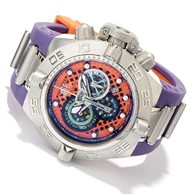 "Men's Invicta 10980 Subaqua Noma IV ""Puppy Edition"" Swiss Made Quartz Chronograph Purple Strap Watch"