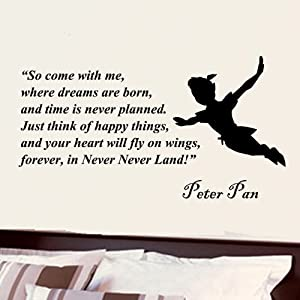 Peter Pan So Come With Me Where Dreams Are Born Wall Quote