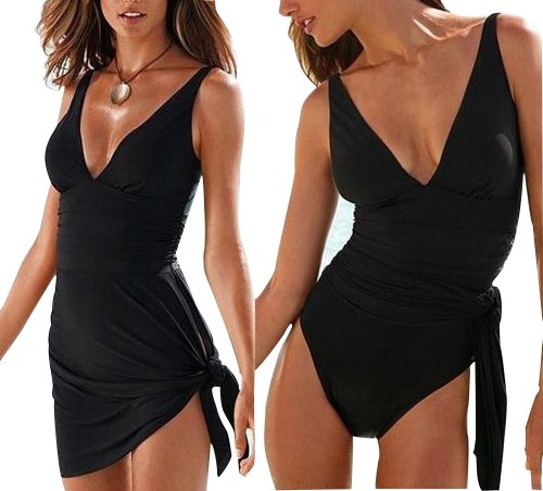 Rabbit Rachel Sexy Sliming Deep V Monokini Dress Skirt Bikini Swimwear Bathing