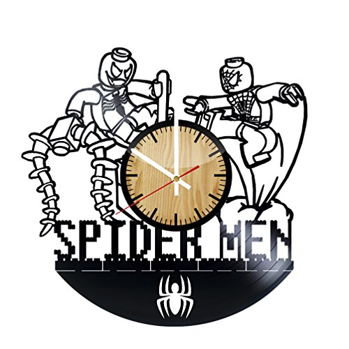 Spider man Lego Vinyl Record Wall Clock - Get unique bedroom wall decor - Gift ideas for men,women,kids - Unique movie art design - Leave us a feedback and win your custom (Spider Man Noir Costume)