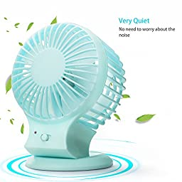 Veesee Rechargeable USB Mini Fan Strong Wind Portable for Home Office Outdoor Blue