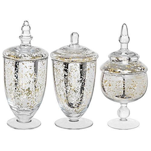 Decorative Mercury Silver Glass Apothecary Jars / Wedding Centerpiece / Footed Candy Dishes - 3 Piece (Apothecary Candy Jars)