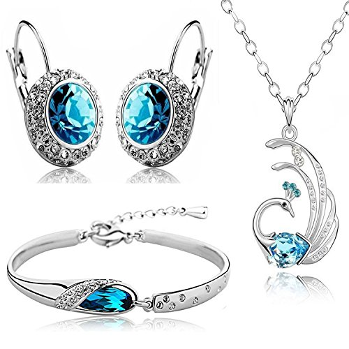 Valentine Gift By Shining Diva Platinum Plated Austrian Crystal Pendant Necklace With Drop Earring And Bangle Bracelet For Girls