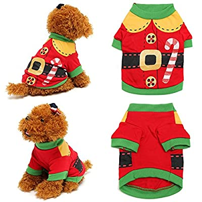 Doggie Style Store Red Elf Christmas Xmas Vest Dog Pet Cat T-Shirt Top Shirt - 4 Sizes