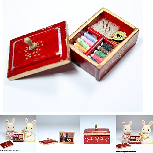 1:12 Sewing Supply Brown Box With Threaded Spools Miniature Doll House Accessory
