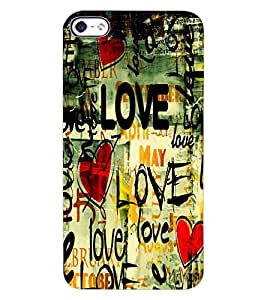 ColourCraft Love Pattern Design Back Case Cover for APPLE IPHONE 4S