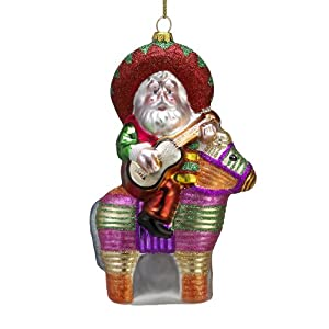 Kurt Adler Glass Santa with Guitar and Pinata Ornament, 5.5-Inch