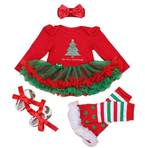 4pcs newbron Bambina Christamas tutù fascia Baby scarpe Outfit Set, S Christmas Tree 2 Small(0-3 Months Baby)