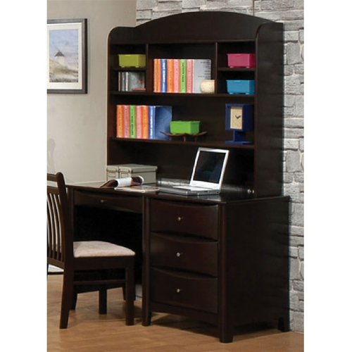 Buy Low Price Comfortable Phoenix Collection Bedroom Furniture Computer/Student Desk with Hutch in Rich Deep Cappuccino Finish (B003XRFOCQ)