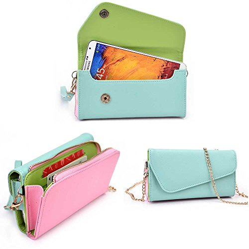 Samsung Galaxy Round Wallet Wristlet Clutch With Crossbody Chain And Hand Strap (Removable) And Credit Card Slots| Baby Blue. Baby Pink, Cedar Green front-1082737