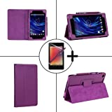 TeckNet Google Nexus 7 Tablet Extra Slim Advance Multi-Function Leather Case / Cover / Stand / Flip Case with Built-in Magnet for Sleep / Wake feature For Google Nexus 7 - Purple