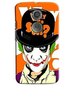 Blue Throat Joker Why So Serious Printed Designer Back Cover/Case For Motorola Moto X2