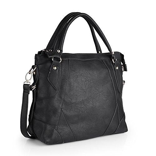 Women Handbag,Women Bag, Shoulder Bag KINGH Vintage Tote Bags PU Leather Black (Vintage Sale compare prices)
