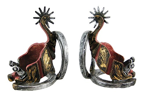 Western Spurs And Horseshoe Bookends Cowboy Shoe Bookends