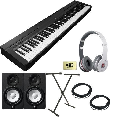 Yamaha P-Series P-35 88-Key Digital Piano With Graded Hammer Standard Keyboard And Built-In Speaker System Bundle With Beats By Dr. Dre Solo Hd On-Ear Headphones (White), 2 Yamaha Hs5 Speakers, 2 Conquest Sound Speaker Cables, Stageline X-Style Keyboard S