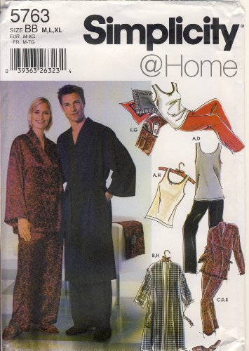 Simplicity Sewing Pattern 5763 - Use to Make - Sleepwear for Men and Women - Sizes M, L, XL