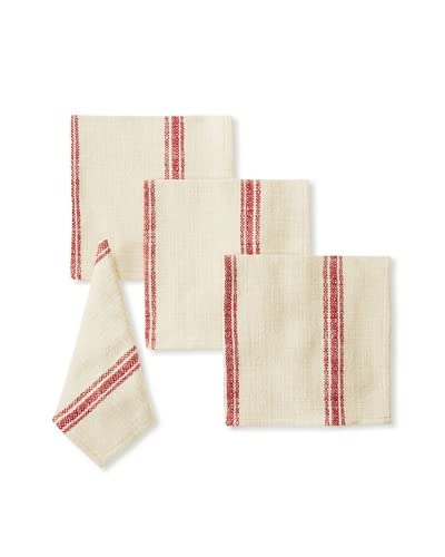 Chateau Blanc Set of 4 Buttermilk Dinner Napkins, Red As You See