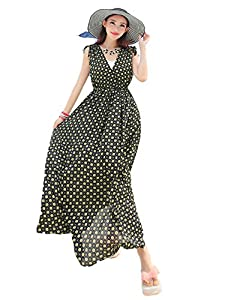 Yacun Women's Elegant Polka Dot Sleeveless Plus Size Maxi Dress