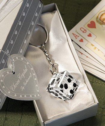 Las Vegas Themed Chrome Keychain with Crystal Dice, 20