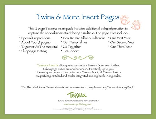 Tessera Baby Books Baby Memory Book Insert Pack, Twins and More