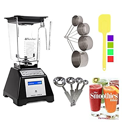 Blendtec TB-621-25 Total Blender Classic with WildSide Jar (Black) + Smoothies Bible Cookbook and Kitchen Accessory Bundle