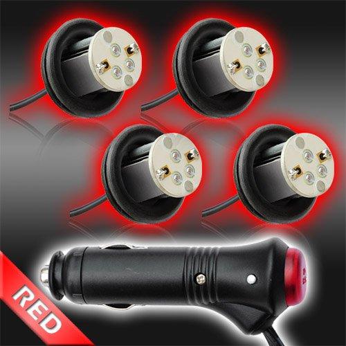 Red 4Pc 4Watt High Power Led Emergency Strobe Flash Light Kit 20 Flash Modes With Memory Function -Universal 12V