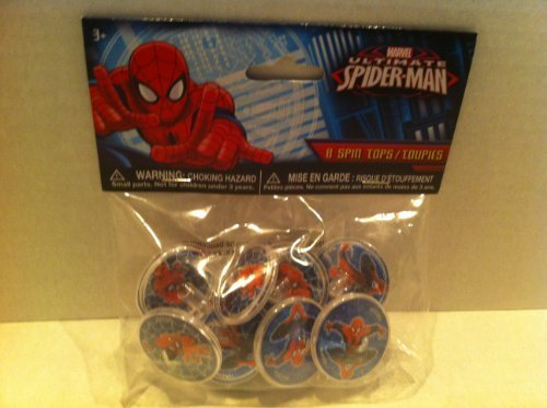 MARVEL ULTIMATE SPIDER-MAN 8 SPIN TOPS PARTY SUPPLY - 1