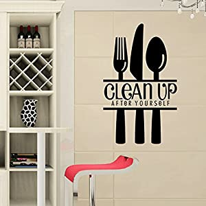 """Clean up after yourself"" Wall Decals for restaurant Kitchen Room Decoration by Mustbe"