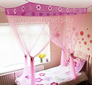mosquito nets 4 u voile pour lit baldaquin pour enfant motif princesse fleur. Black Bedroom Furniture Sets. Home Design Ideas