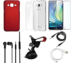 NIROSHA Tempered Glass Screen Guard Cover Case Headphone USB Cable Mobile Holder for Samsung Galaxy J2 - Combo