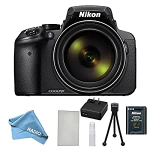 Nikon COOLPIX P900 Black with Starter Kit - Lens Cleaning Kit, LCD Screen protector, Table Top Tripod